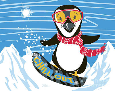 Digital Art - Snowboarding Penguin by Shari Warren