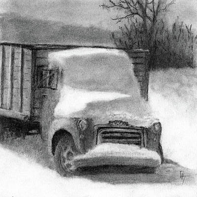 Junk Drawing - Snowbound Gmc by David King