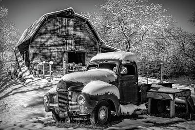 Photograph - Snowbound International Truck Black And White by Debra and Dave Vanderlaan