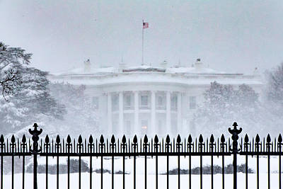 Photograph - Snowbound White House by SR Green