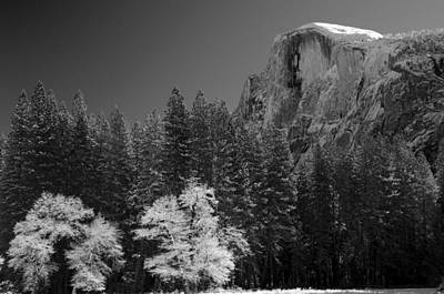 Snowcapped Half Dome Yosemite National Park Art Print by Lawrence Knutsson