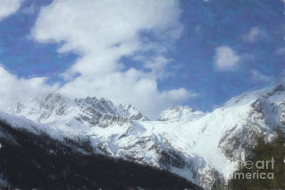 Photograph - Snowcapped Rockies Paint by Donna L Munro