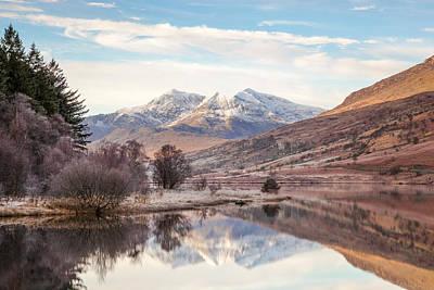 Llynnau Mymbyr Photograph - Snowdon Horseshoe Reflection by Christine Smart