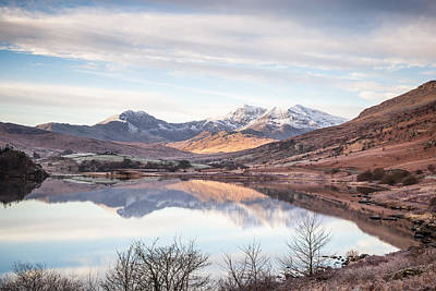 Wide Angled Glass Mirror Photograph - Snowdon Horseshoe Winter Reflections by Christine Smart