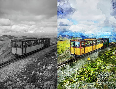 Mixed Media - Snowdon Train by Ian Mitchell