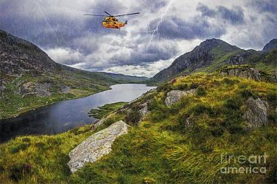 Lightning Digital Art - Snowdonia Mountain Resuce by Ian Mitchell