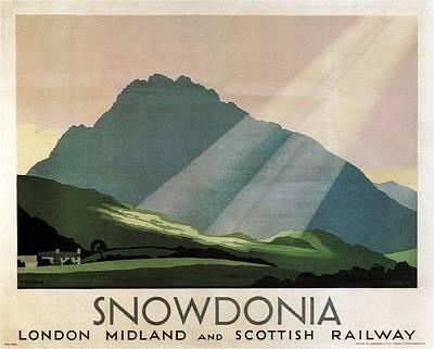 Mountain Mixed Media - Snowdonia, Wales - London Midland and Scottish Railway - Retro travel Poster - Vintage Poster by Studio Grafiikka