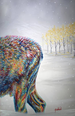 Animals Painting - Snowdrifter Triptych Panel 3 by Teshia Art
