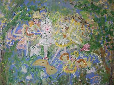 Art Print featuring the painting Snowdrop The Fairy And Friends by Judith Desrosiers