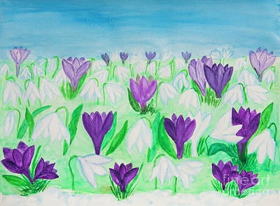 Painting - Snowdrops And Crocuses by Irina Afonskaya