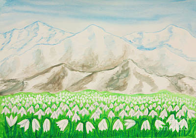Painting - Snowdrops In Hills by Irina Afonskaya