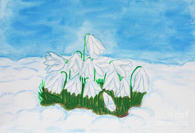 Painting - Snowdrops In Snow, Watercolor by Irina Afonskaya