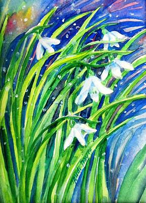 Painting - Little Snowdrops In The Snow  . by Trudi Doyle
