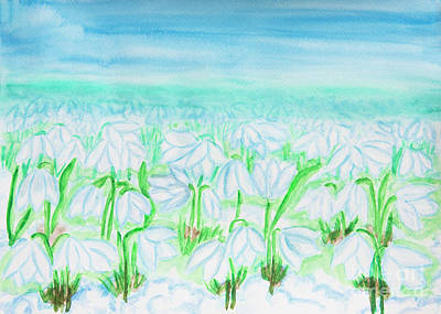 Painting - Snowdrops, Painting Watercolor by Irina Afonskaya