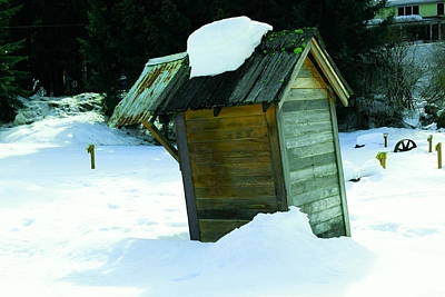 Old Wood Outhouse Photograph - Snowed In Outhouse by Jeff Swan