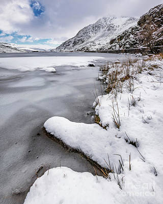 Photograph - Snowfall At Ogwen Lake Snowdonia by Adrian Evans