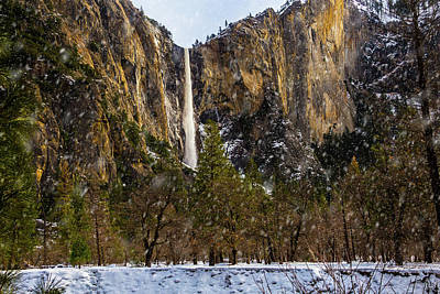 Snowfall Bridalveil Falls Print by Garry Gay