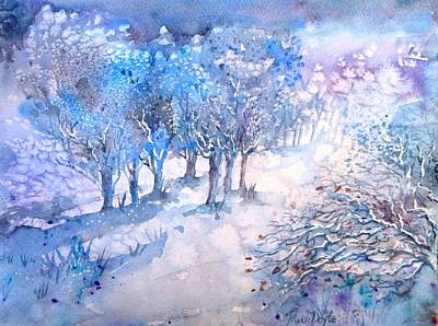 Painting - Snowfall In A Moonlit Wood by Trudi Doyle