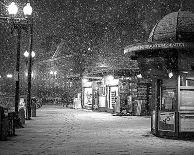 Photograph - Snowfall In Harvard Square Cambridge Ma Kiosk Black And White by Toby McGuire