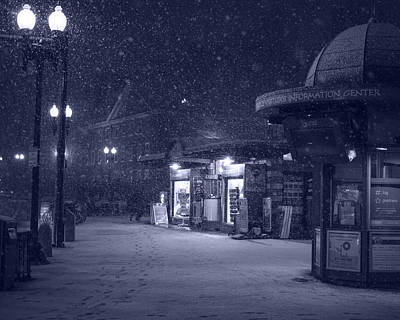 Snowfall In Harvard Square Cambridge Ma Kiosk Monochrome Blue Art Print by Toby McGuire