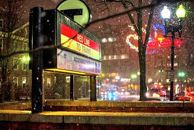 Snowfall In Harvard Square Cambridge Ma Red Line Mbta Art Print by Toby McGuire
