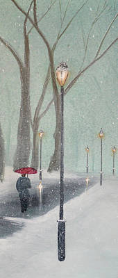 Central Park Painting - Snowfall In The Park Triptych 2 Of 3 by Ken Figurski