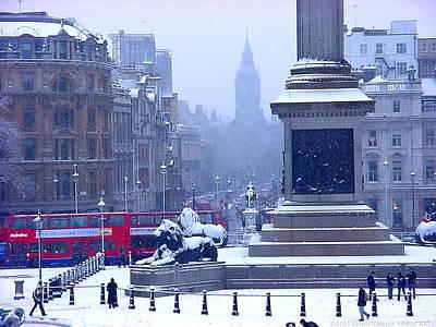 Snowfall Invades London Art Print by Christopher Robin