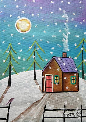 Evergreen Trees Painting - Snowfall by Karla Gerard