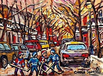 Snowfall Montreal Memories Street Hockey Art Original Winter  Paintings For Sale By Carole Spandau Original