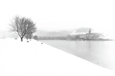 Snowfall On The River Danube At Ybbs Art Print