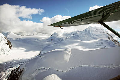 Photograph - Snowfield Off Airplane Wing - Alaska Range by Waterdancer
