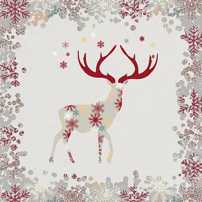 Hand Thrown Digital Art - Snowflake Christmas Stag by Amanda Lakey