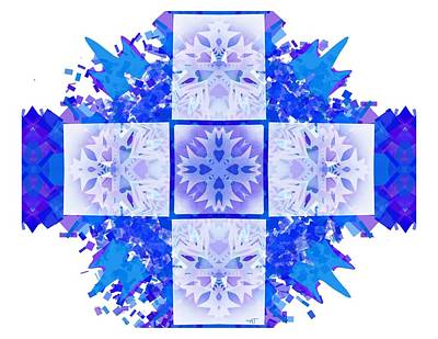 Digital Art - Snowflake Cross by Adria Trail
