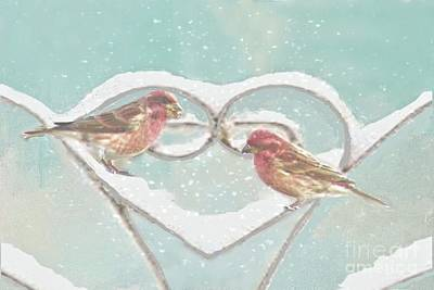 Photograph - Snowflakes And Red Finches by Janette Boyd