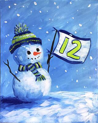 Seattle Seahawks Painting - Snowhawk by Anjl Rodee