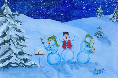 Snowie Musicians Art Print by Donna Tucker