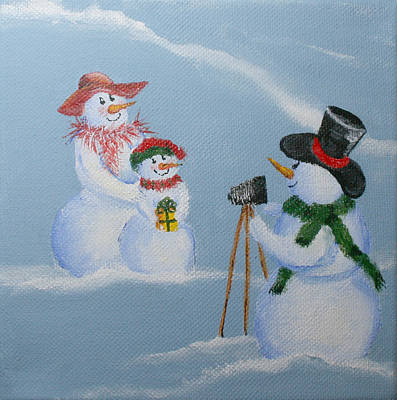 Snowwoman Painting - Snowie Photographer by Donna Tucker