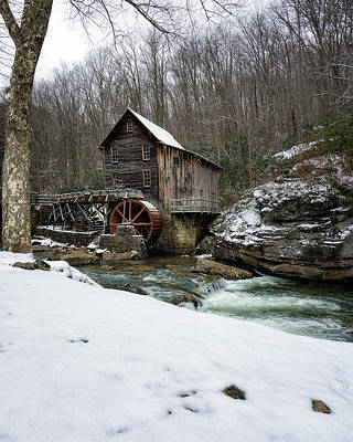 Photograph - Snowing At Glade Creek Mill by Steve Hurt