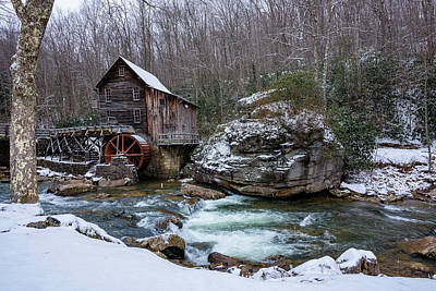 Photograph - Snowing At The Mill  by Steve Hurt