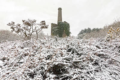 Photograph - Snowing On Ale And Cake Mine Cornwall by Terri Waters