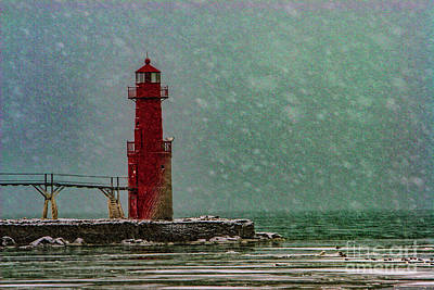 Photograph - Snowing On The Lighthouse 1935t by Doug Berry