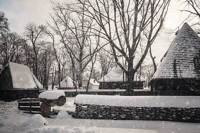 Photograph - Snowing Over A Traditional Homestead At Village Museum In Bucharest by Daniela Constantinescu