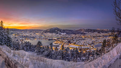 Photograph - Snowing Sunrise In Bergen by Adrian O Brien