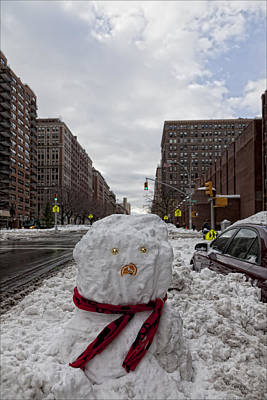 Snowman 96th Street And Park Avenue 4 Art Print by Robert Ullmann