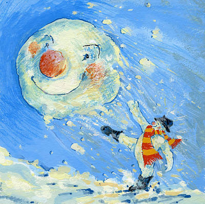 Winter Fun Painting - Snowman And Snowball  by David Cooke