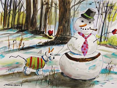 Painting - Snowman And Snowdog by John Williams