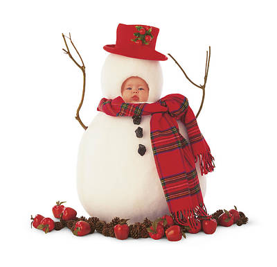 Print featuring the photograph Snowman by Anne Geddes