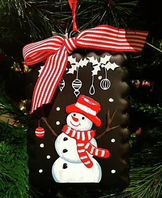 Photograph - Snowman Christmas Tree Ornament by Denise Mazzocco