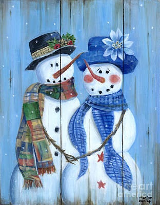 Wall Art - Painting - Snowman Couple by Marilyn Dunlap