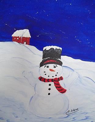 Painting - Snowman by Dianne Scheerer Gibson